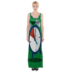 Alarm Clock Weker Time Red Blue Green Maxi Thigh Split Dress