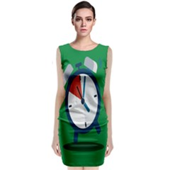 Alarm Clock Weker Time Red Blue Green Classic Sleeveless Midi Dress