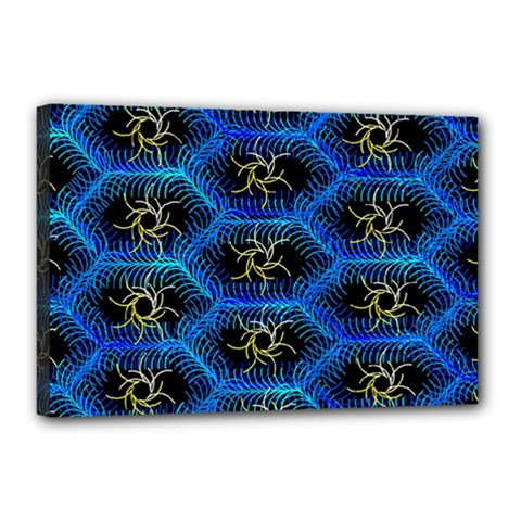 Blue Bee Hive Pattern Canvas 18  X 12  by Amaryn4rt