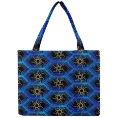 Blue Bee Hive Pattern Mini Tote Bag by Amaryn4rt
