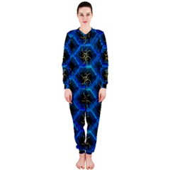 Blue Bee Hive Pattern Onepiece Jumpsuit (ladies)  by Amaryn4rt