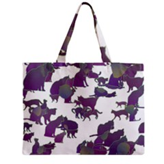 Many Cats Silhouettes Texture Medium Zipper Tote Bag by Amaryn4rt