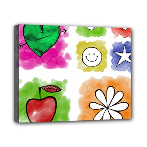 A Set Of Watercolour Icons Canvas 10  x 8