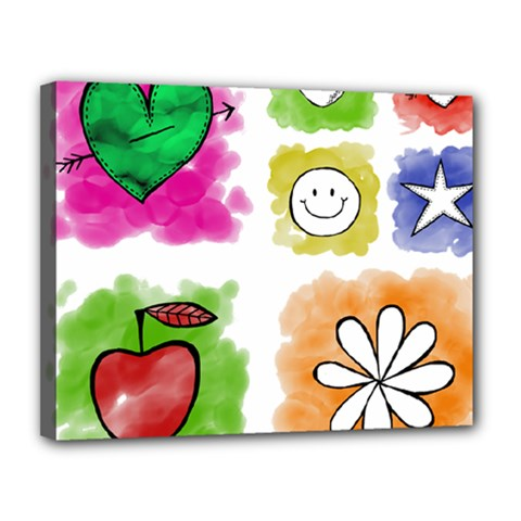 A Set Of Watercolour Icons Canvas 14  x 11