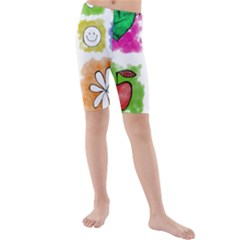 A Set Of Watercolour Icons Kids  Mid Length Swim Shorts