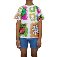 A Set Of Watercolour Icons Kids  Short Sleeve Swimwear