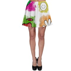 A Set Of Watercolour Icons Skater Skirt