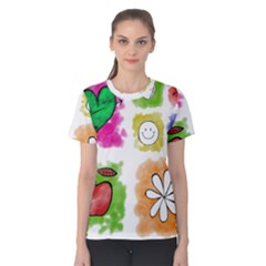 A Set Of Watercolour Icons Women s Cotton Tee