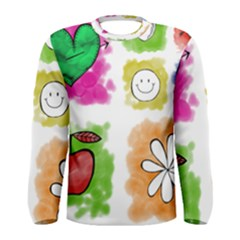 A Set Of Watercolour Icons Men s Long Sleeve Tee