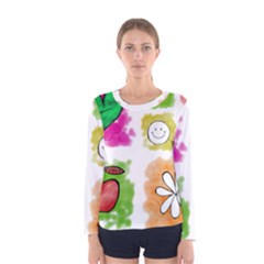 A Set Of Watercolour Icons Women s Long Sleeve Tee