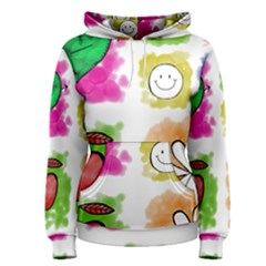 A Set Of Watercolour Icons Women s Pullover Hoodie