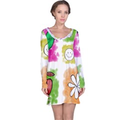 A Set Of Watercolour Icons Long Sleeve Nightdress