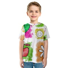 A Set Of Watercolour Icons Kids  Sport Mesh Tee