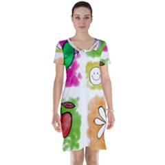 A Set Of Watercolour Icons Short Sleeve Nightdress