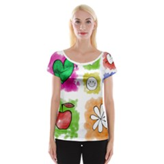 A Set Of Watercolour Icons Women s Cap Sleeve Top