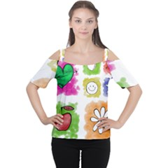 A Set Of Watercolour Icons Women s Cutout Shoulder Tee