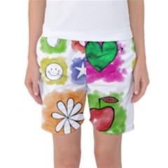 A Set Of Watercolour Icons Women s Basketball Shorts