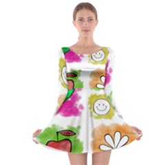 A Set Of Watercolour Icons Long Sleeve Skater Dress