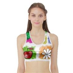 A Set Of Watercolour Icons Sports Bra with Border