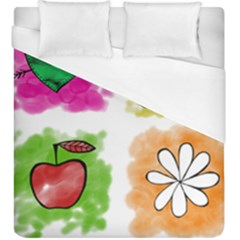 A Set Of Watercolour Icons Duvet Cover (King Size)