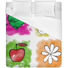 A Set Of Watercolour Icons Duvet Cover (California King Size)