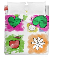 A Set Of Watercolour Icons Duvet Cover Double Side (Queen Size)