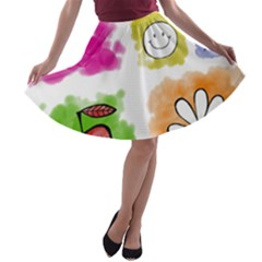A Set Of Watercolour Icons A-line Skater Skirt