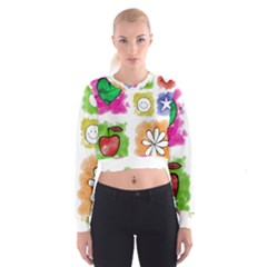 A Set Of Watercolour Icons Women s Cropped Sweatshirt