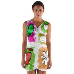 A Set Of Watercolour Icons Wrap Front Bodycon Dress