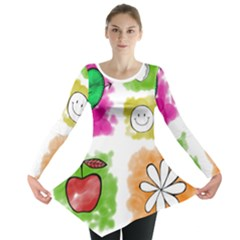 A Set Of Watercolour Icons Long Sleeve Tunic