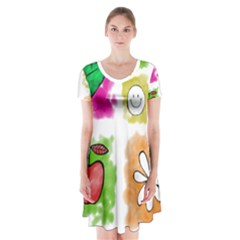 A Set Of Watercolour Icons Short Sleeve V-neck Flare Dress