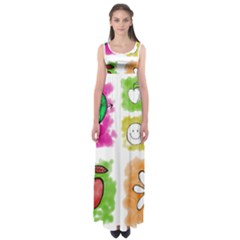 A Set Of Watercolour Icons Empire Waist Maxi Dress