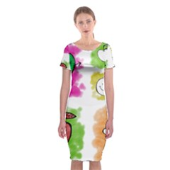 A Set Of Watercolour Icons Classic Short Sleeve Midi Dress