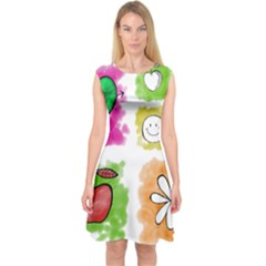 A Set Of Watercolour Icons Capsleeve Midi Dress