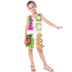 A Set Of Watercolour Icons Kids  Sleeveless Dress