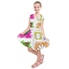 A Set Of Watercolour Icons Kids  Short Sleeve Dress