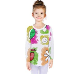 A Set Of Watercolour Icons Kids  Long Sleeve Tee