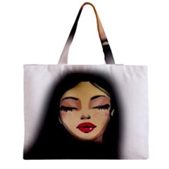 Girl Medium Zipper Tote Bag by Valentinaart
