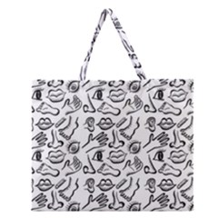 Body Parts Zipper Large Tote Bag