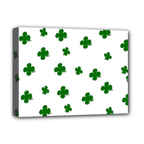 St  Patrick s Clover Pattern Deluxe Canvas 16  X 12   by Valentinaart