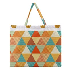 Golden Dots And Triangles Pattern Zipper Large Tote Bag by TastefulDesigns