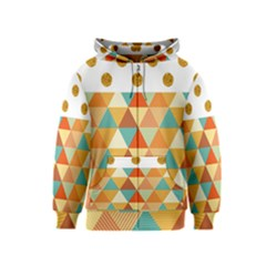 Golden Dots And Triangles Patern Kids  Zipper Hoodie by TastefulDesigns