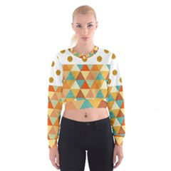 Golden Dots And Triangles Patern Women s Cropped Sweatshirt by TastefulDesigns