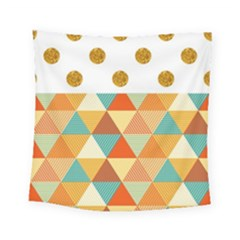 Golden Dots And Triangles Patern Square Tapestry (small) by TastefulDesigns