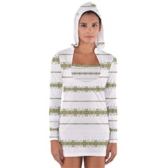 Ethnic Floral Stripes Women s Long Sleeve Hooded T-shirt by dflcprintsclothing