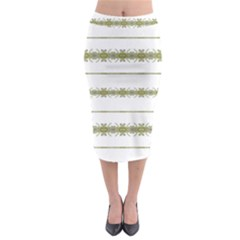 Ethnic Floral Stripes Midi Pencil Skirt by dflcprintsclothing