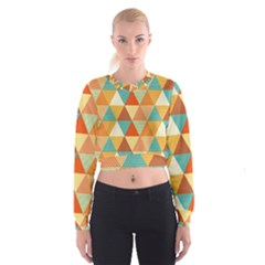 Triangles Pattern  Women s Cropped Sweatshirt by TastefulDesigns