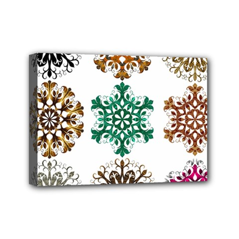 A Set Of 9 Nine Snowflakes On White Mini Canvas 7  X 5