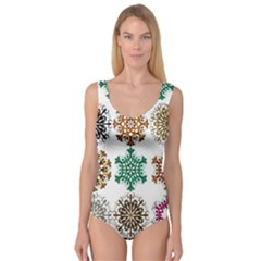 A Set Of 9 Nine Snowflakes On White Princess Tank Leotard