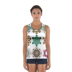 A Set Of 9 Nine Snowflakes On White Women s Sport Tank Top  by Amaryn4rt